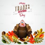 Vintage Cartoon Of Turkey Bird For Happy Thanksgiving Stock