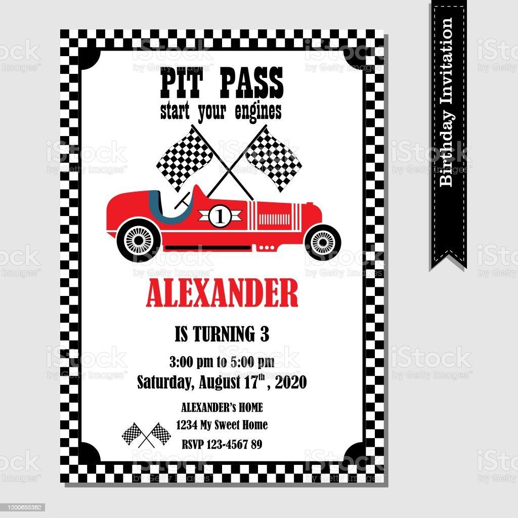 vintage racing car invitation stock illustration download image now istock
