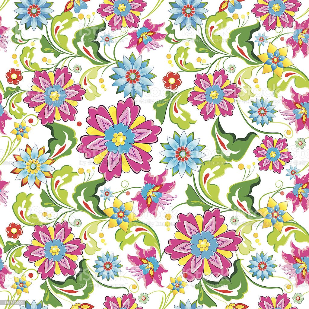 Vivid Colorful Repeating Seamless Floral Wallpaper Pattern With Bright Flowers Stock Illustration Download Image Now Istock