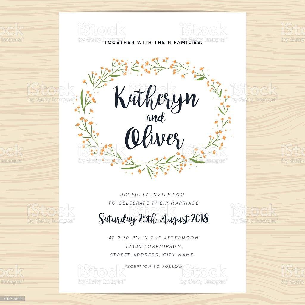 https www istockphoto com de vektor wedding invitation card with hand drawn wreath flower template gm615729642 106888215