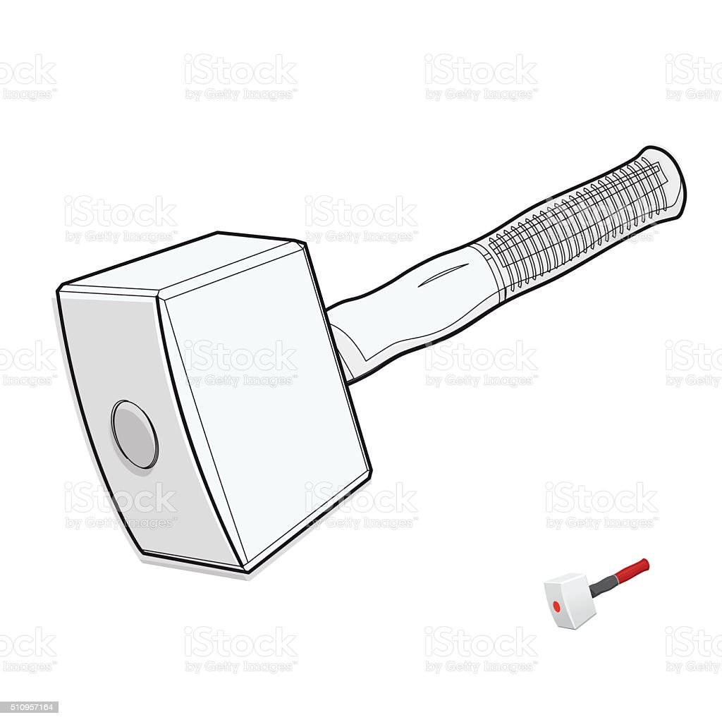 Wire nice classical big carpenter mallet on white construction tools