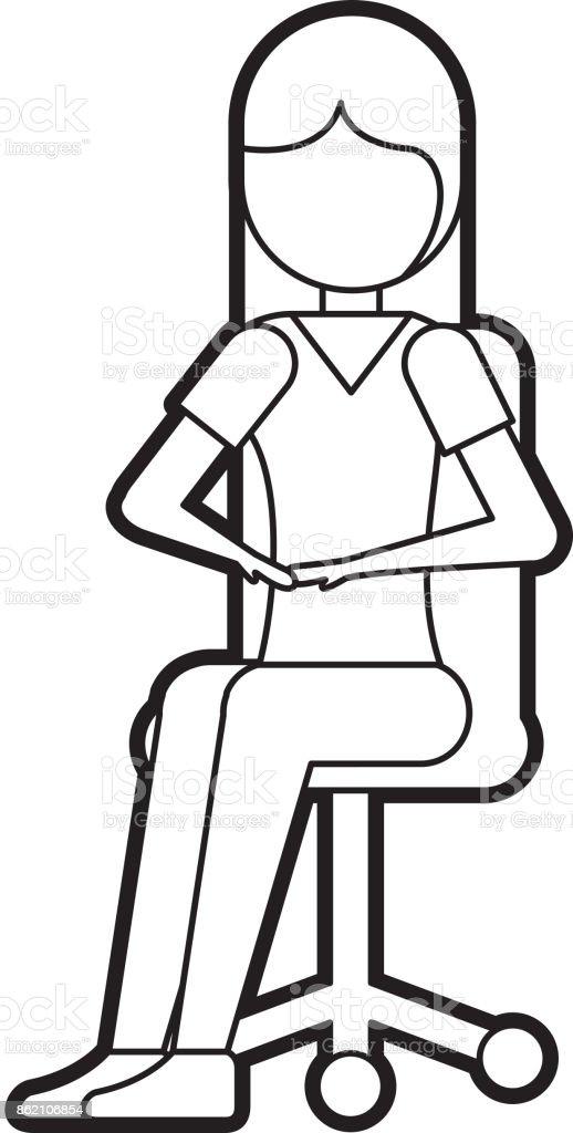 https www istockphoto com fr vectoriel femme assise dans la chaise de bureau avec visage souriant et regardant la gm862106854 143009943