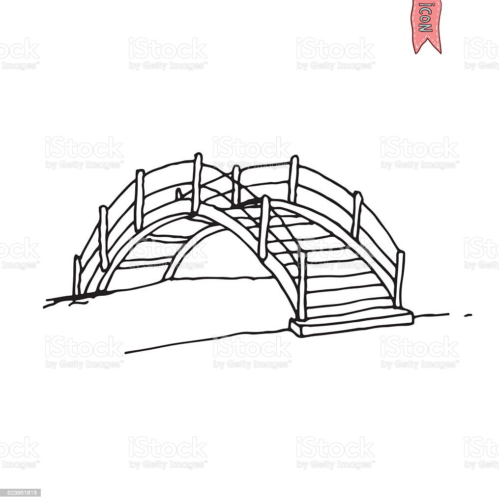Wooden Arch Bridge Vector Illustration Stock Vector Art