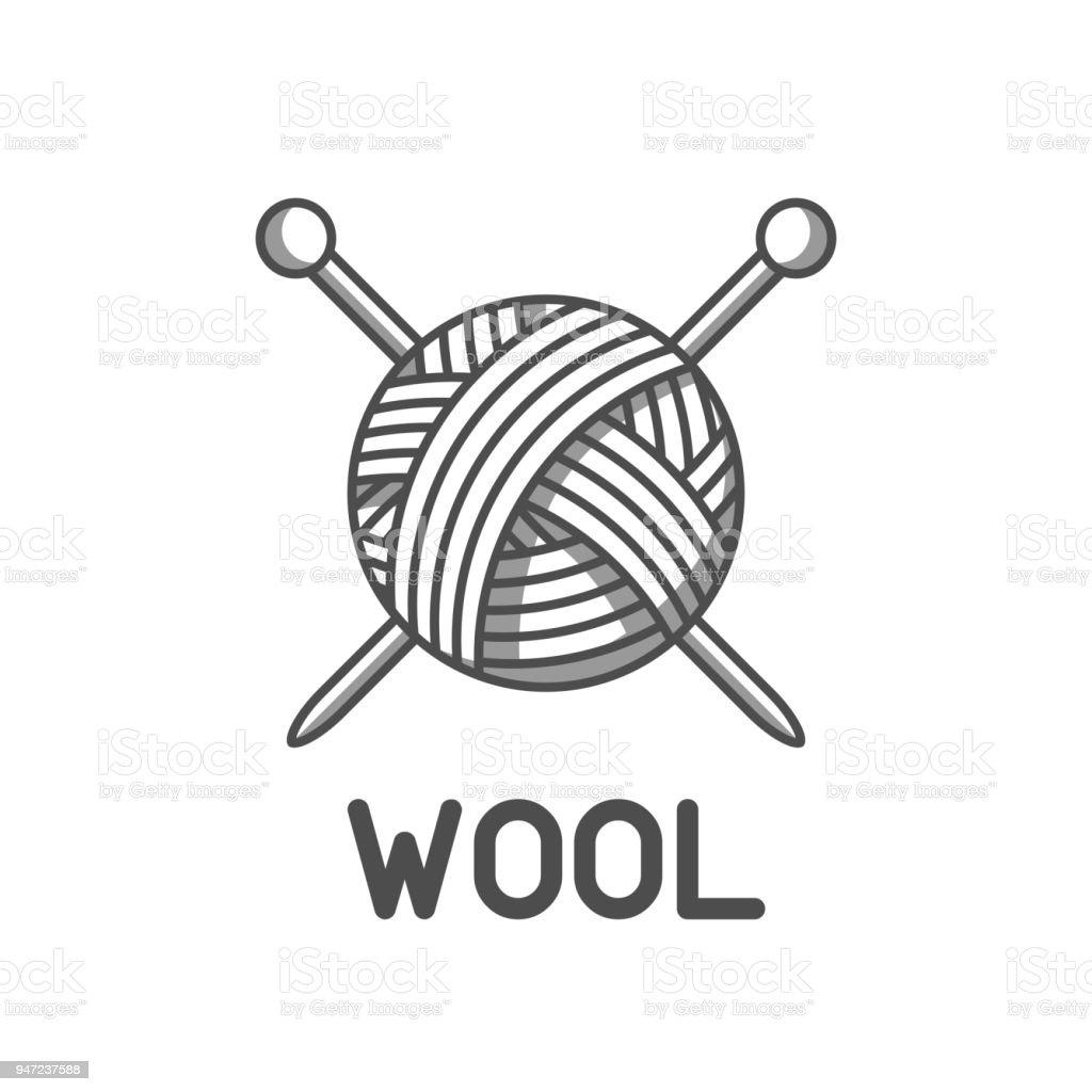 embleme de la laine avec pelote de laine et des aiguilles a tricoter etiquette pour peinte a la main tricot ou atelier de couture vecteurs libres de droits et plus d images vectorielles