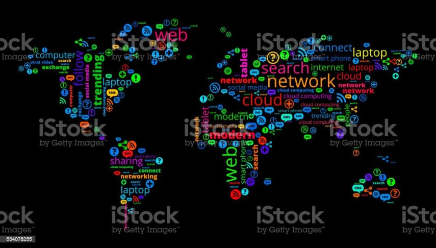 World Map On Modern Communication And Technology Word Cloud Stock     World Map on Modern Communication and Technology Word Cloud royalty free world  map on modern