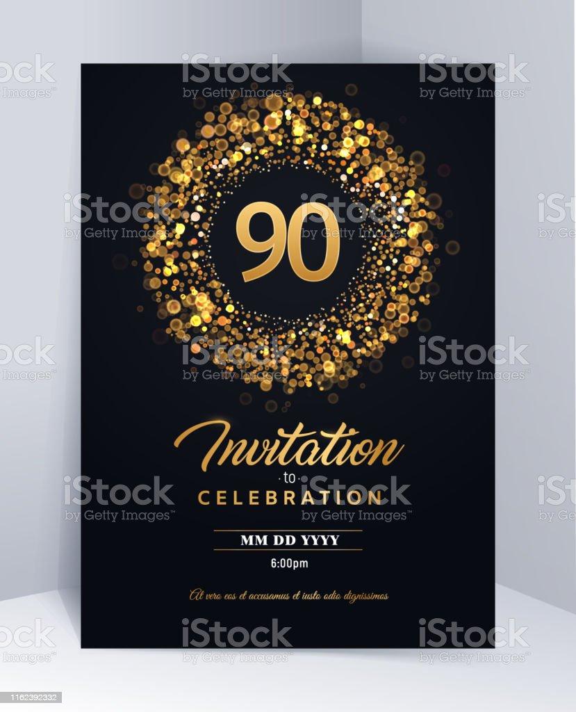 illustration de vecteur isole de modele de carte dinvitation de 90 ans modele noir de carte de voeux vecteurs libres de droits et plus d images vectorielles de 90e anniversaire anniversaire d un