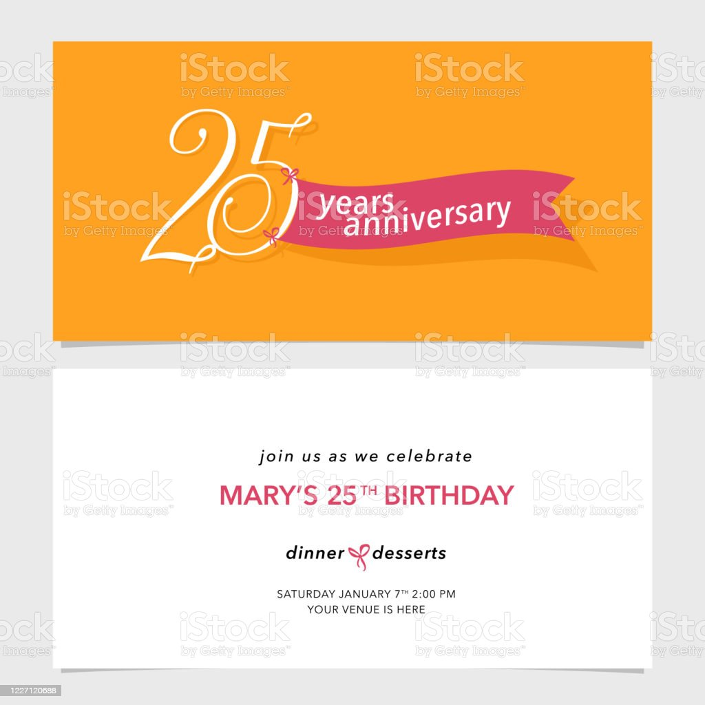 25 years anniversary invitation card vector illustration design template element stock illustration download image now istock