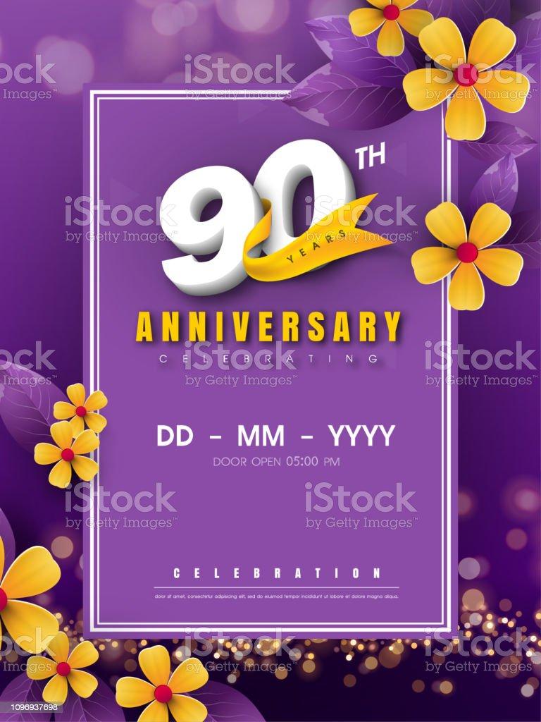 https www istockphoto com fr vectoriel mod c3 a8le de logo danniversaire 90 ans sur fleur dor et fond violet 90e num c3 a9ros gm1096937698 294545389