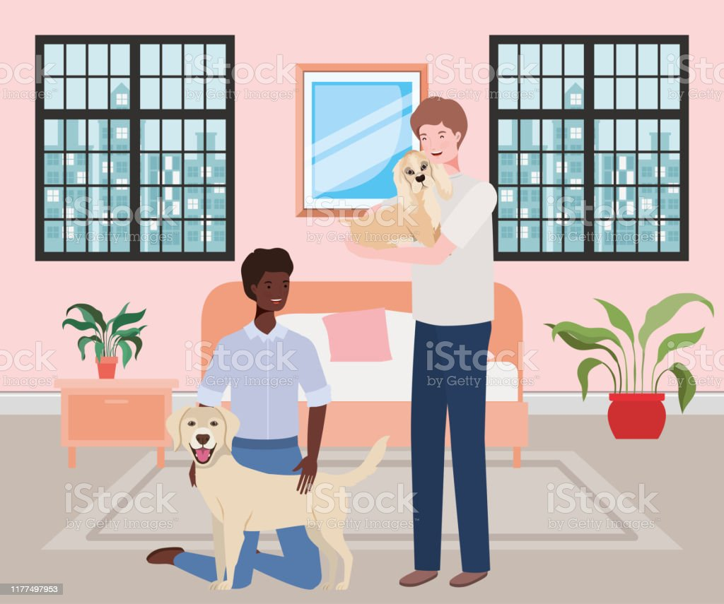 https www istockphoto com vector young men with cute dogs mascots in the bedroom gm1177497953 328750919