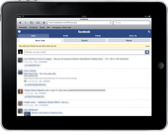 Facebook Touch mobile version on iPad