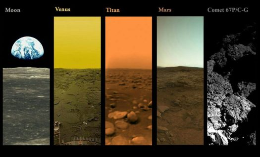 A Montage of Landings within Our Solar System