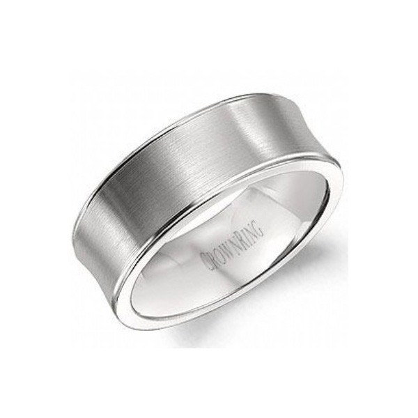 Crown Ring White Gold Brushed 8mm Band