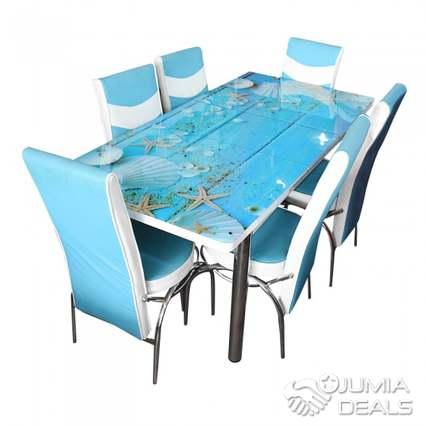 table a manger demontable 6 chaises style turc bleu