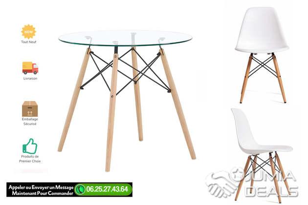 ensemble table chaises scandinave