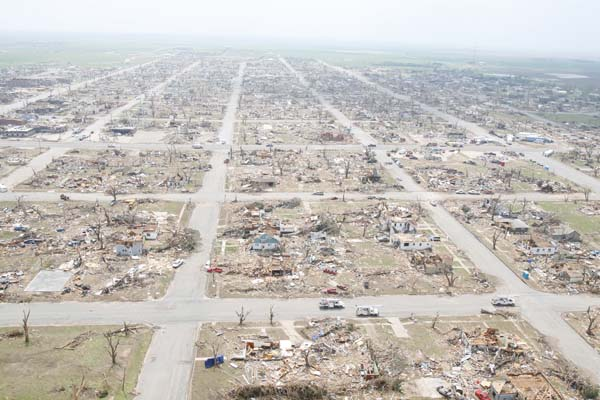 This aerial photograph shows the devastation that occurred when a large tornado struck Greensburg in May 2007. Jaime Oppenheimer/The Wichita Eagle