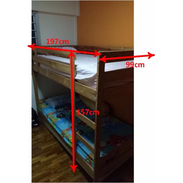 Ikea Wooden Double Deck Bunk Bed Furniture Beds Mattresses On Carousell
