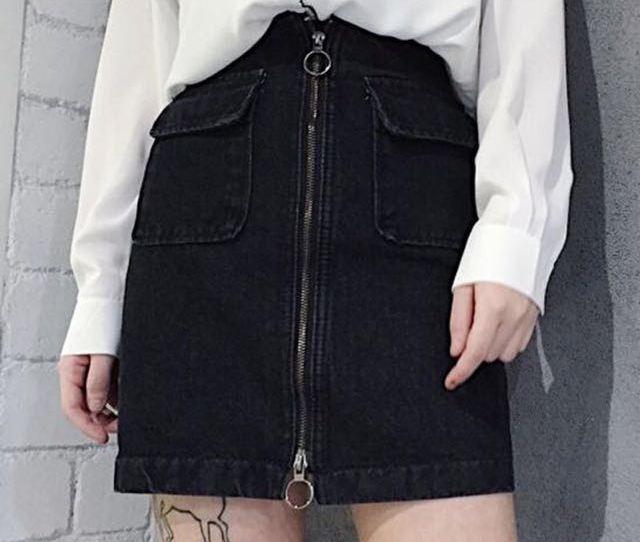 94 Tumblr Ulzzang Harajuku Ring Zip Up Skirt On Carousell