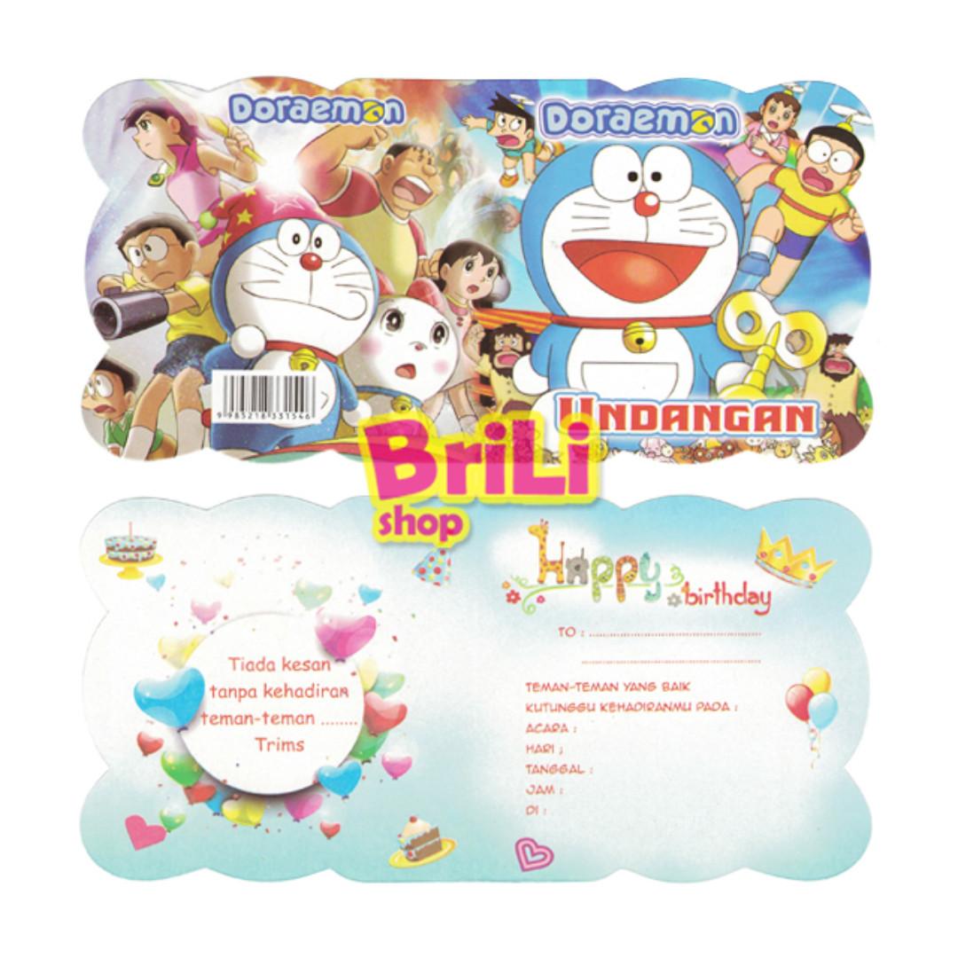 Kartu Undangan Ulang Tahun Doraemon Souvenir Ultah Babies Kids