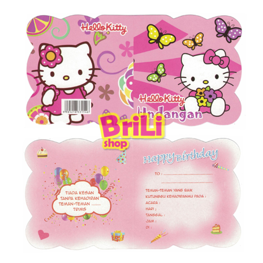 Carousell의 Kartu Undangan Ulang Tahun Hello Kitty Satuan Souvenir