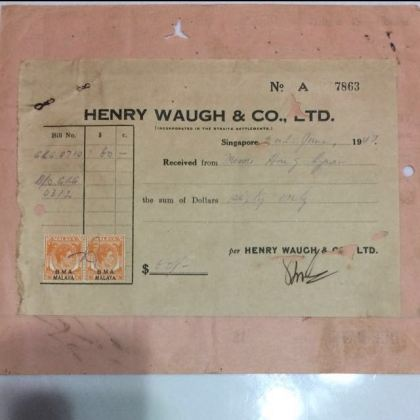 Old Invoice Receipt   Dated 1947 with 2 Malaya Straits Settlement     photo photo photo photo photo
