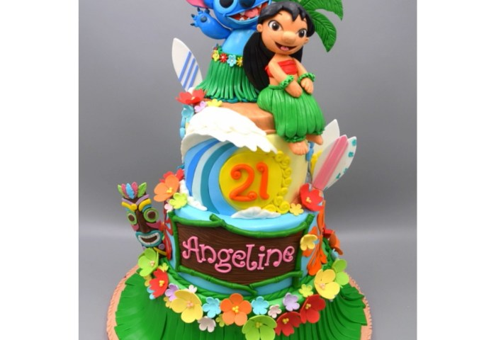 3d Lilo And Stitch Theme 3 Tier Hawaiian Style 3d Cake Singapore