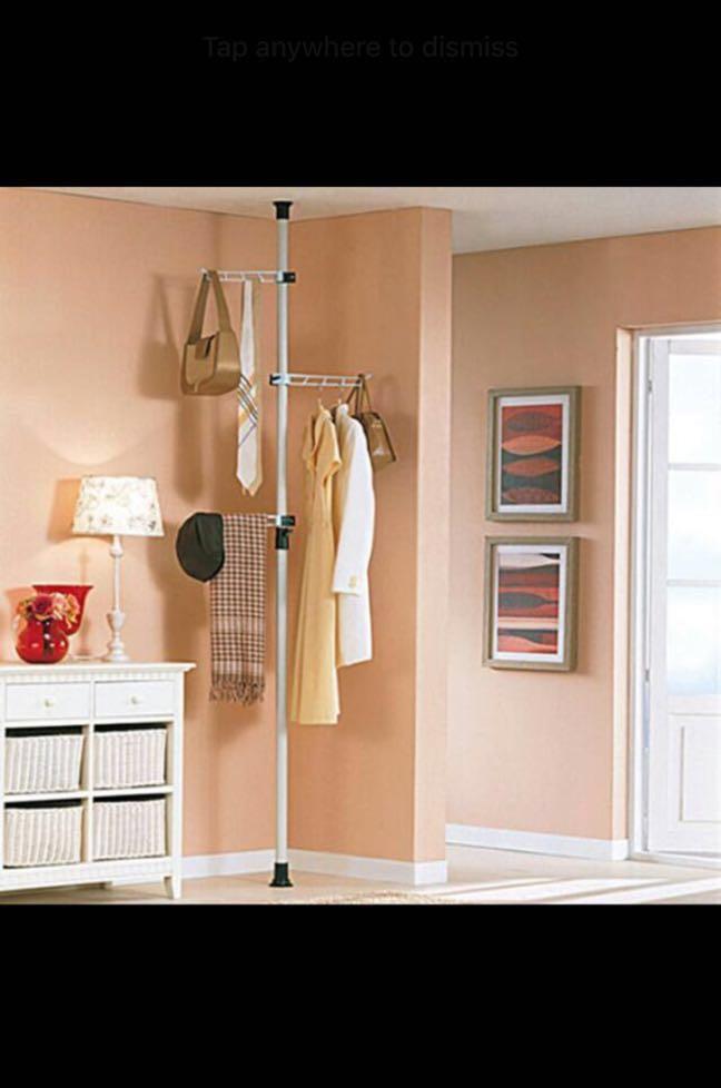 brand new clothes vertical pole hanger rack 3 hangers