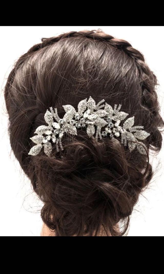 leaves flower wedding hair comb clear rhinestone crystal