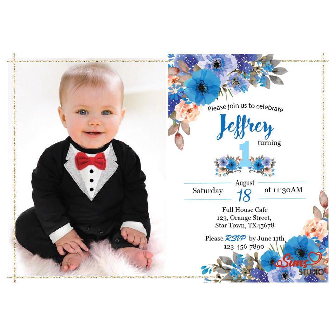 baby boy baby 1st birthday invitation