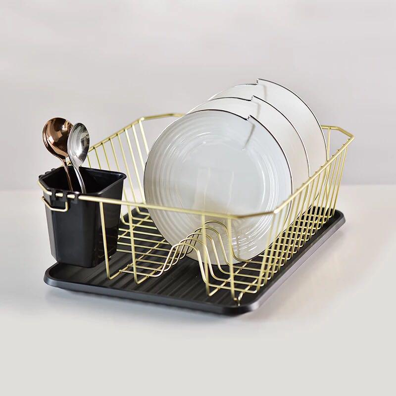po gold and black metal dish rack home
