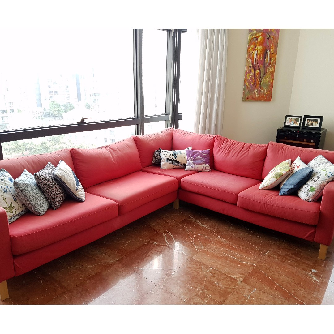 awesome bright red l shaped couch