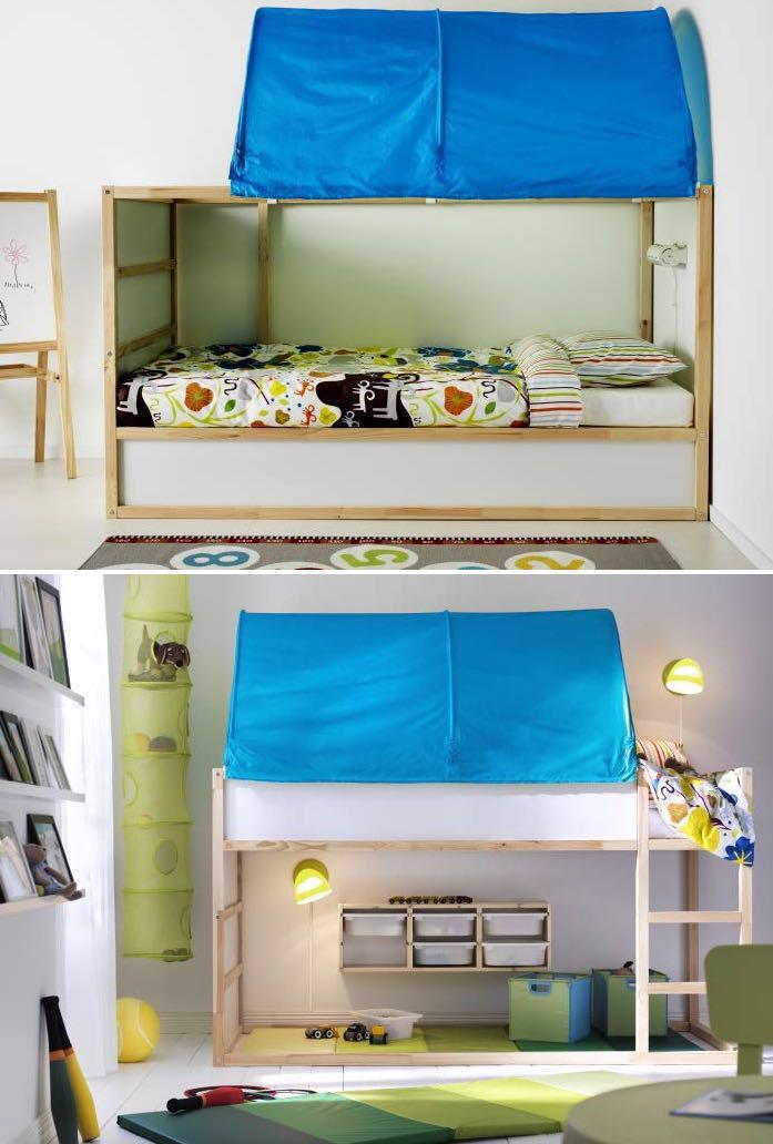 ikea kura bunk bed blue canopy cover