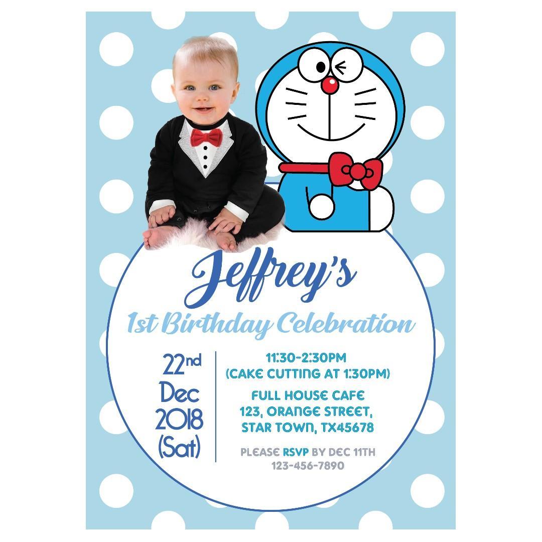 personalized doraemon birthday photo invitation doraemon party printable photo einvite boy or girl first birthday invitation doraemon birthday