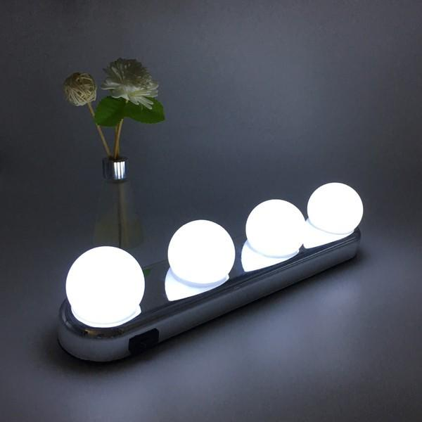 bn studio glow make up lighting super bright 4 led bulbs portable cosmetic mirror light kit battery powered makeup light