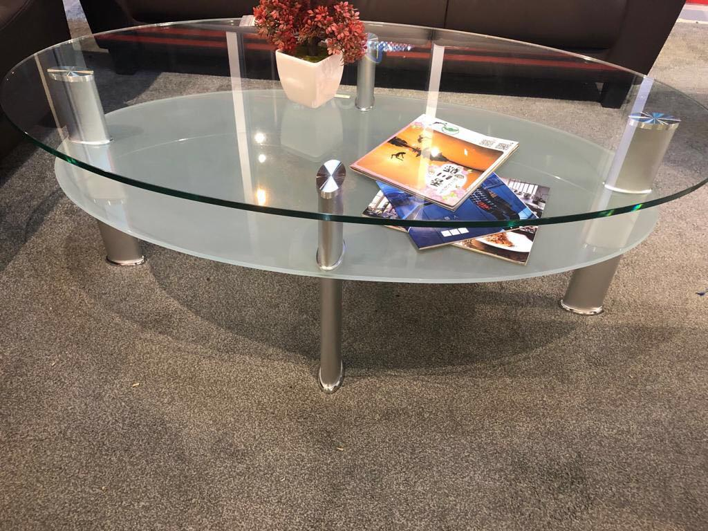 coffee table glass top modern round new chrome low oval