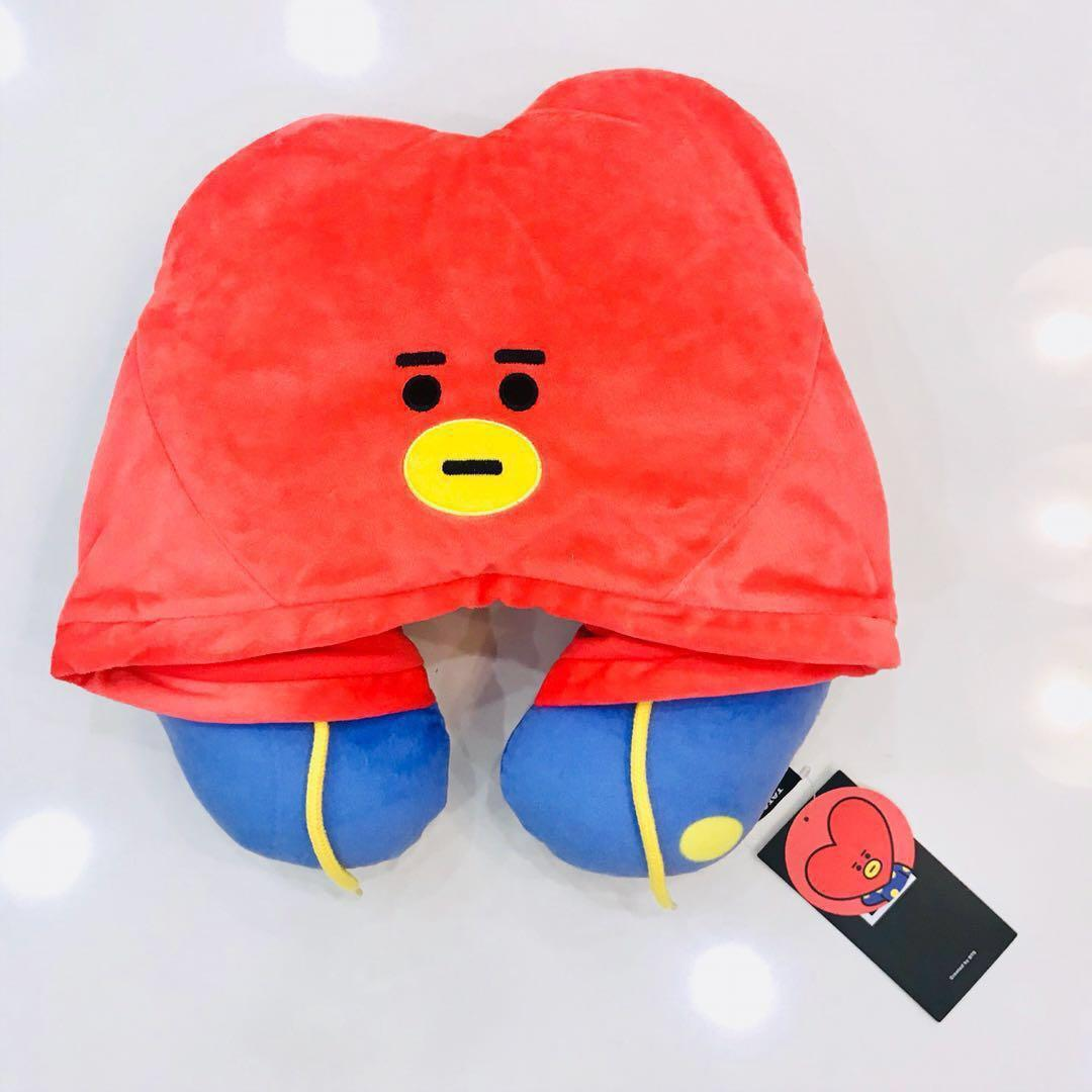 bt21 tata hooded neck pillow official md bnwt