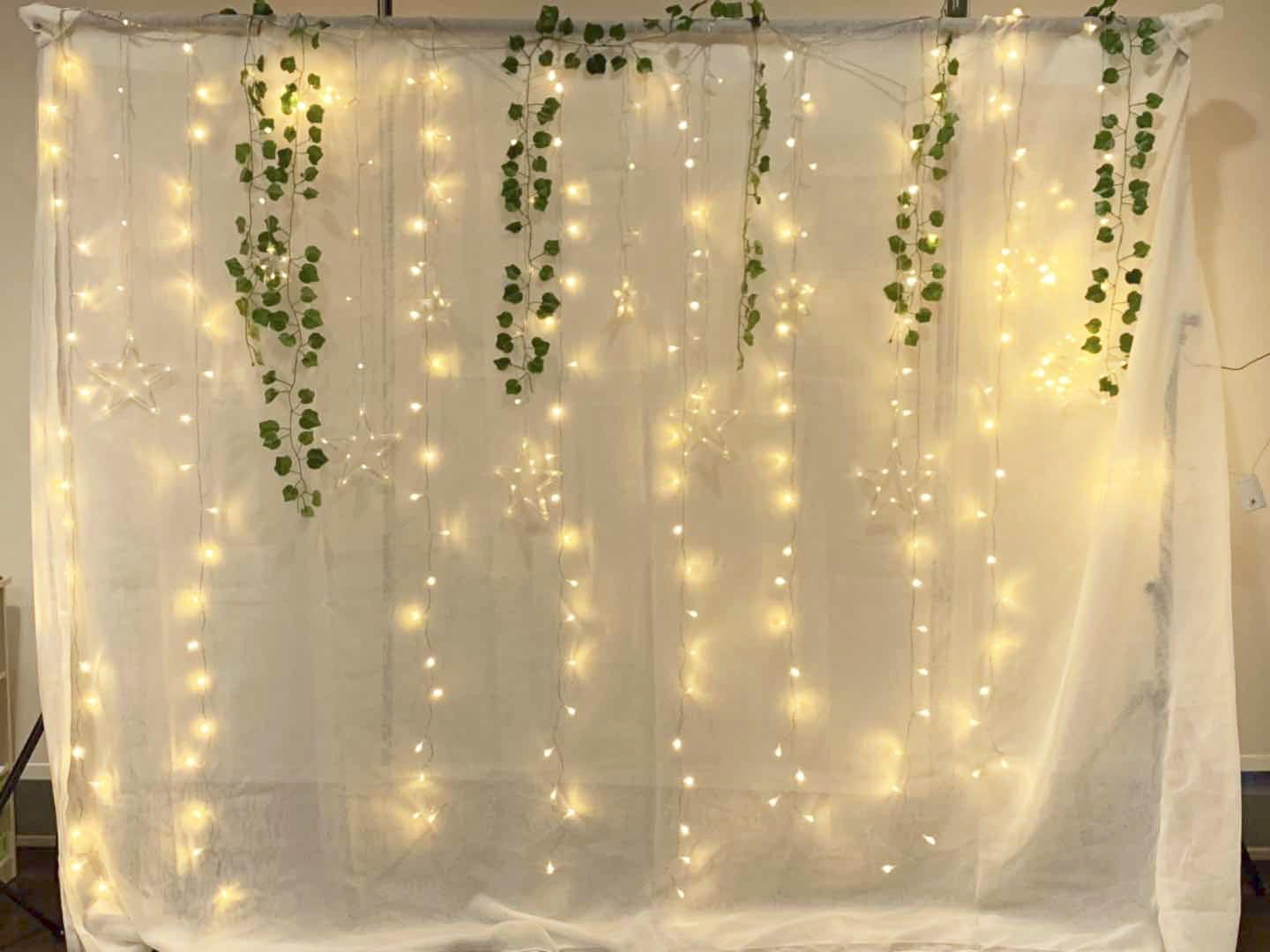 rent or sell high quality sheer white backdrop curtain