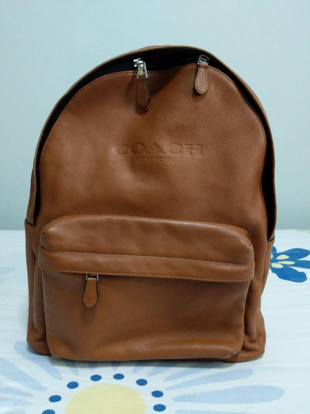 coach full brown leather backpack