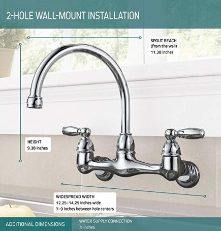 peerless 2 handle wall mounted kitchen faucet model p299305lf free shipping within the phils