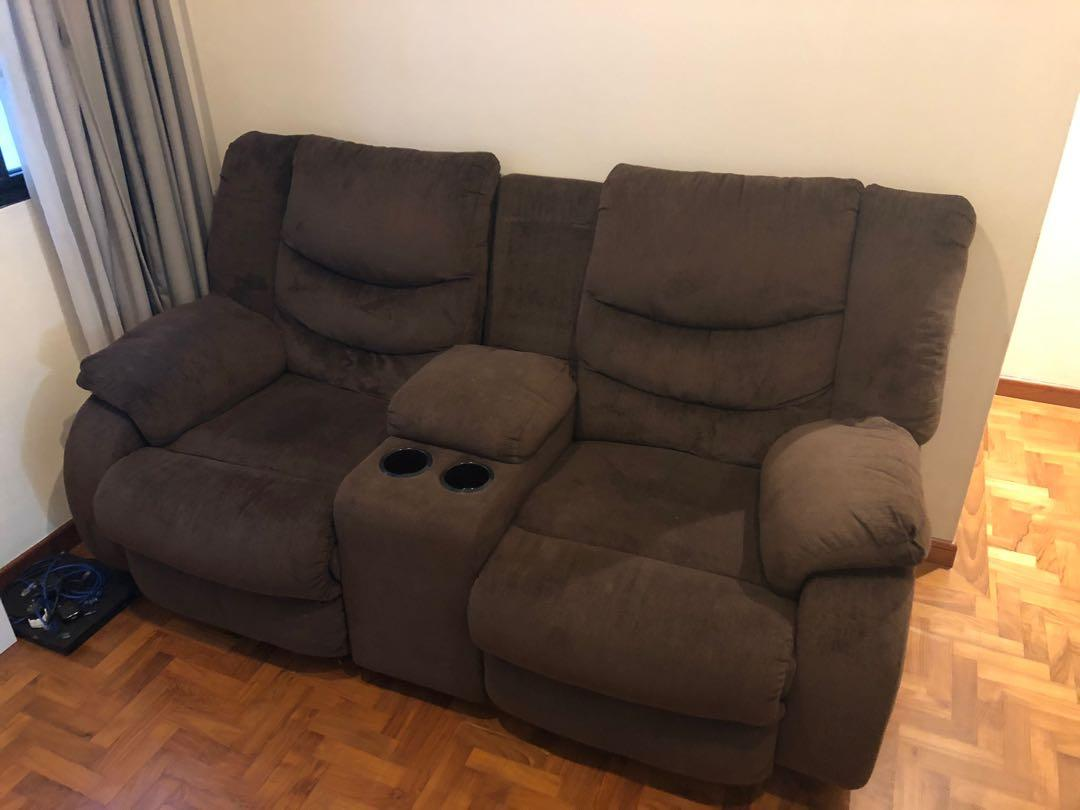 2 seater reclining sofa with cup