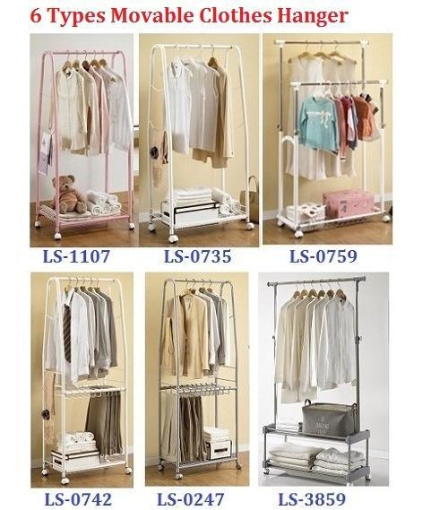 korea living star portable clothes rack movable hangers series