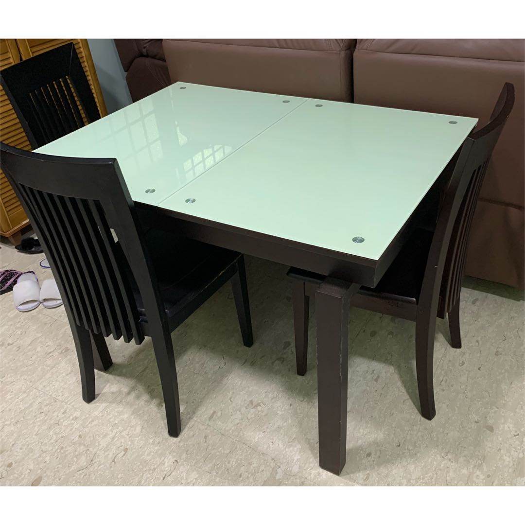 Extendable Glass Dining Table With Chairs Furniture Tables Chairs On Carousell