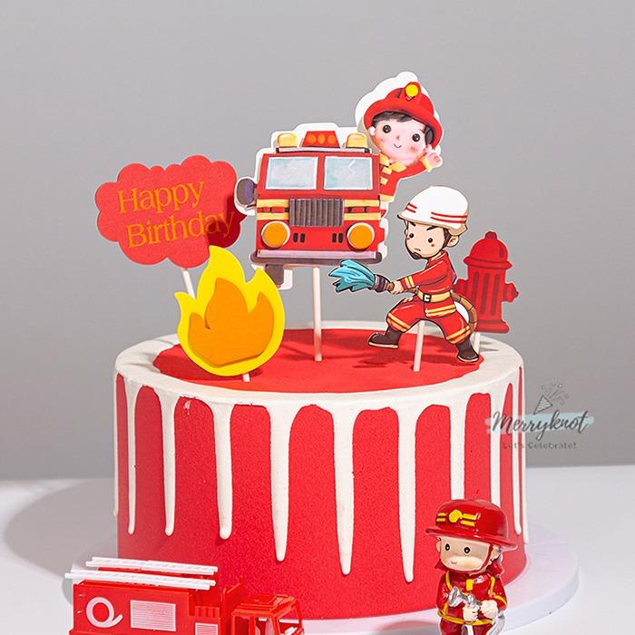 Firefighter Rescue Team Fire Truck Birthday Party Cake Topper Decoration Hobbies Toys Stationery Craft Occasions Party Supplies On Carousell