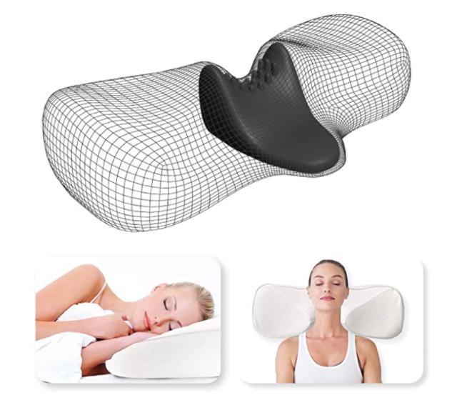 tesenai cervical memory foam pillow orthopedic ergonomic contour pillow for neck shoulder pain relief sleeping pillow with neck massage pillow core