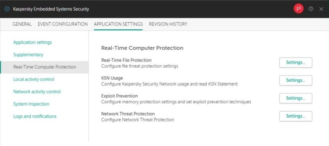 Kaspersky Embedded Systems Security user interface