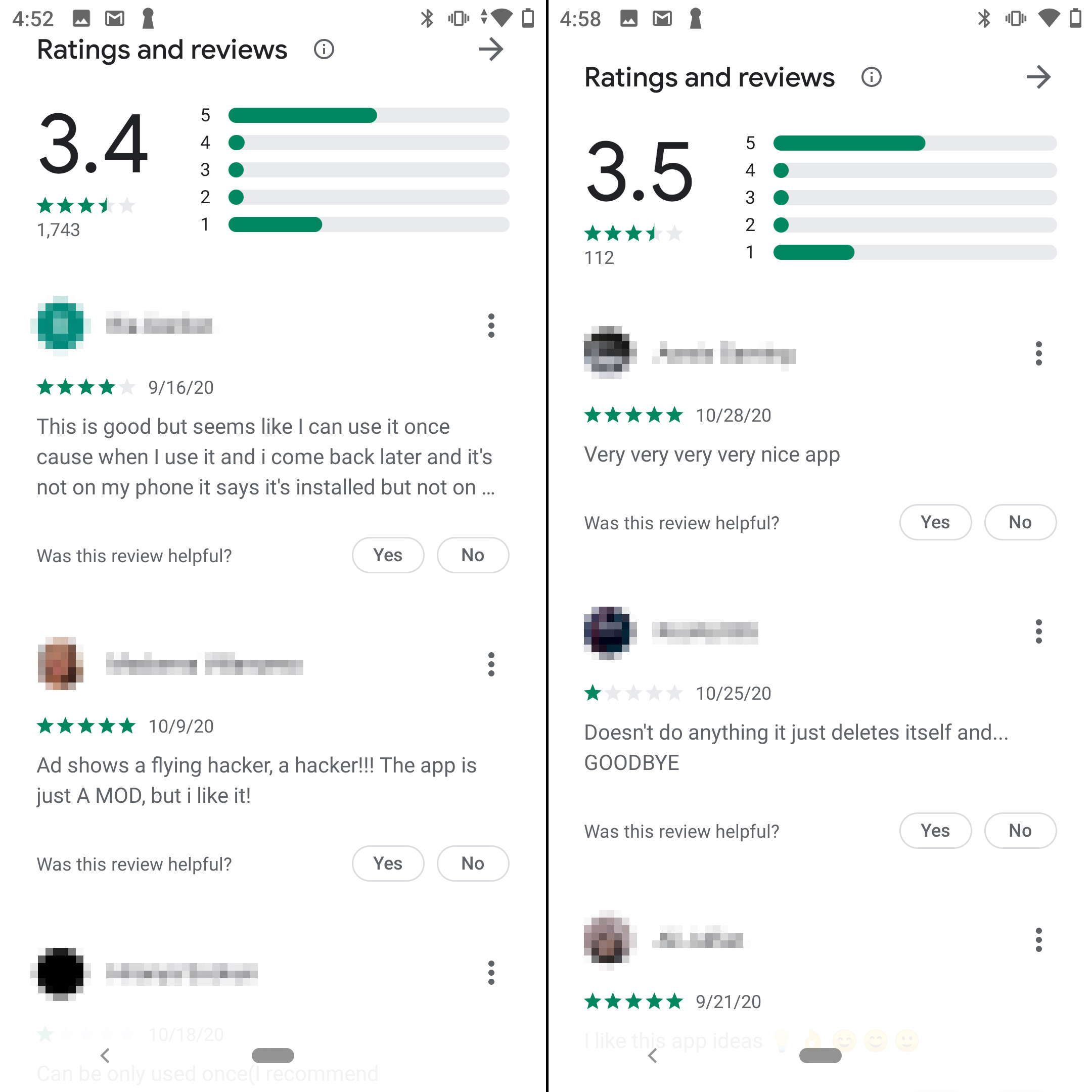 The apps receive either five stars or one. Suspicious!