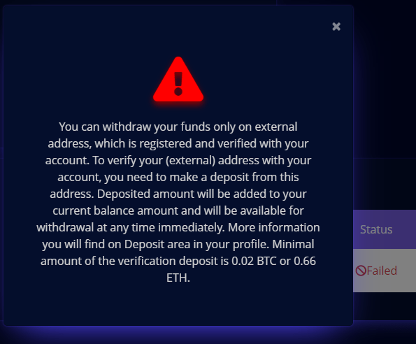 The fake exchange asks for a deposit of 0.02 BTC or 0.66 ETH to link the target wallet to the