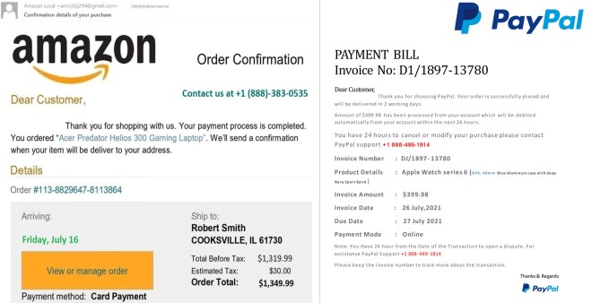 Fake PayPal/Amazon purchase confirmations with vishing phone numbers