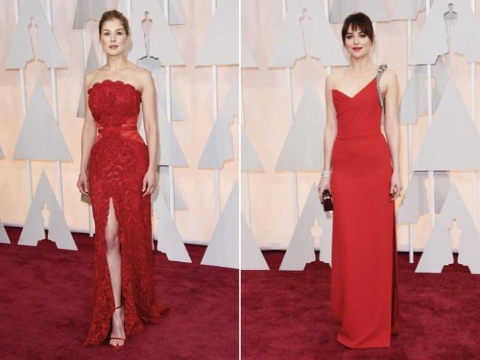 Röda klänningar på Oscarsgalans röda matta.