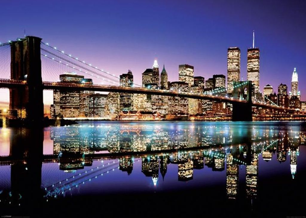 new york xxl poster skyline brooklyn bridge by night 100 x 140 cm