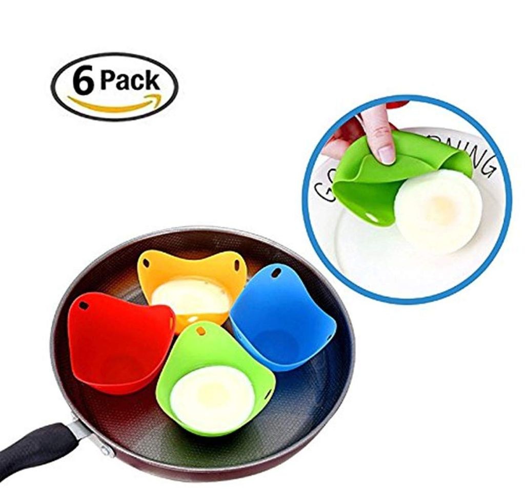 silicone egg poacher cups set of 4 cooking perfect poached eggs microwave or stovetop egg cooker random color